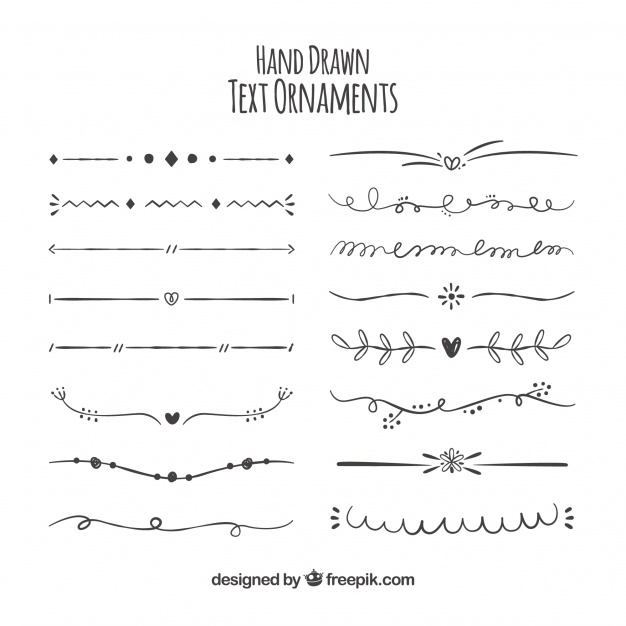 626x626 Collection Of Hand Drawn Ornaments For Text Vector Free Download