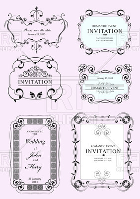 282x400 Collection Of Wedding Frames And Ornaments With Sample Text Vector