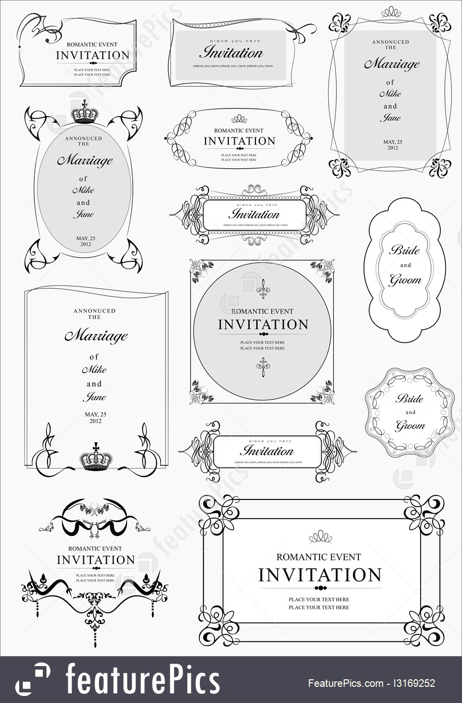 915x1392 Set Of Ornate Vector Frames And Ornaments With Sample Text.
