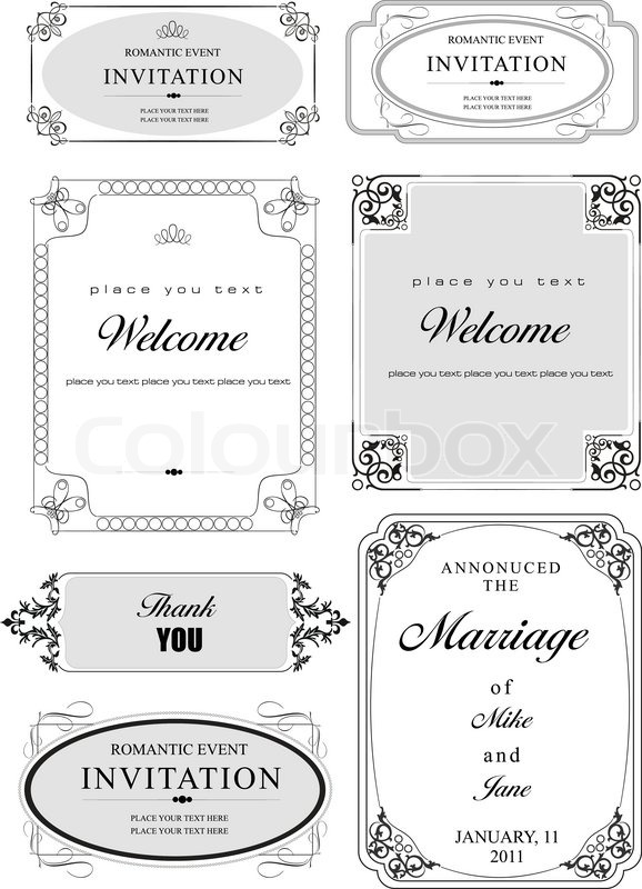 578x800 Set Of Ornate Vector Frames And Ornaments With Sample Text Perfect