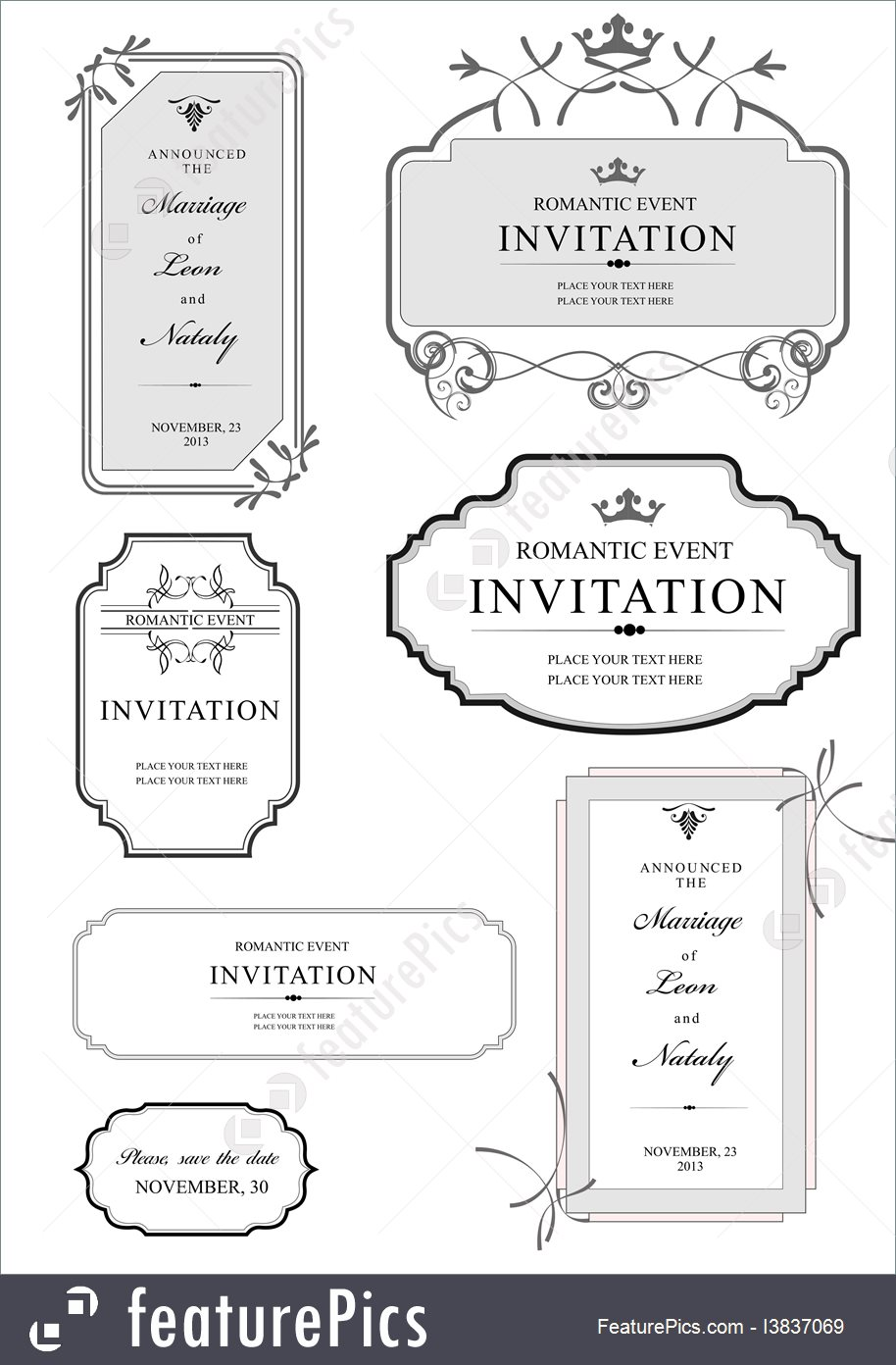 914x1392 Templates Set Of Ornate Vector Frames And Ornaments With Sample