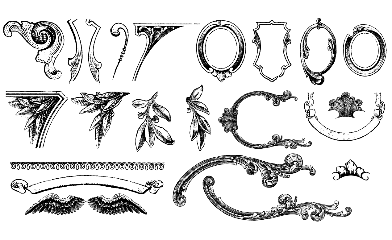 1270x778 Vintage Ornaments Vector Pack