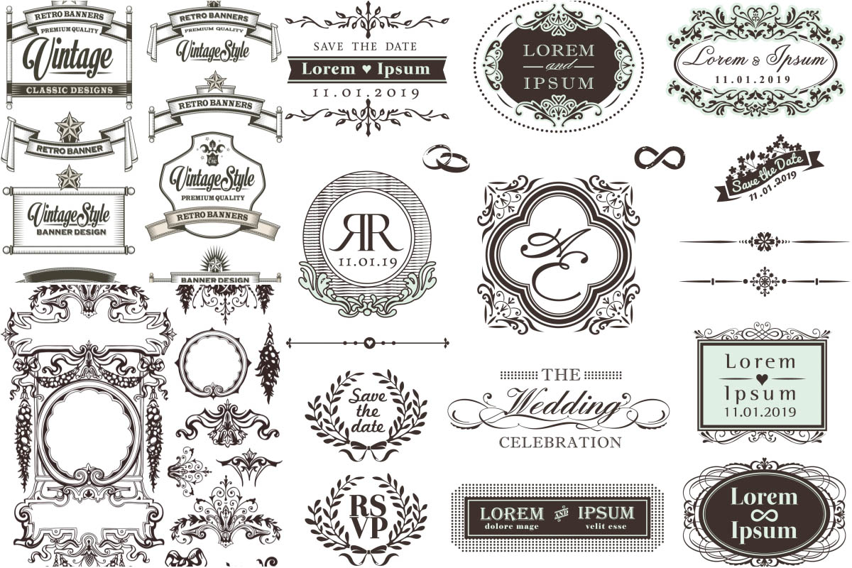 1200x800 Vintage Ornate Frames And Decorative Ornaments Vector Free
