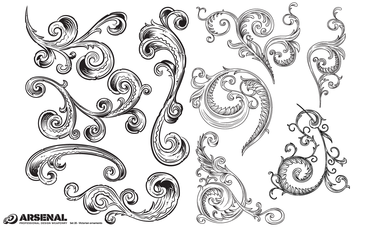 1270x770 Adobe Illustrator Ornaments Victorian Vector Pack