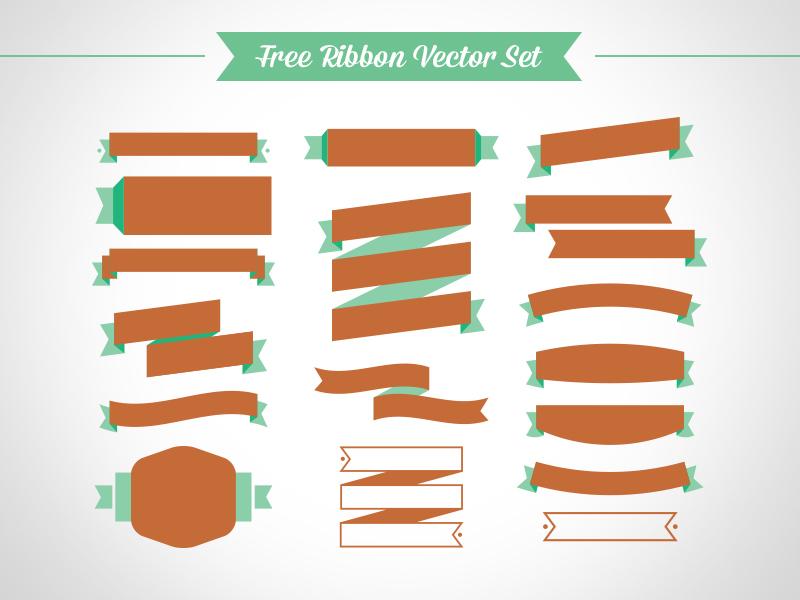 800x600 Free Ribbon Vector Set (Ai, Eps, Cdr) By Zee Que Designbolts