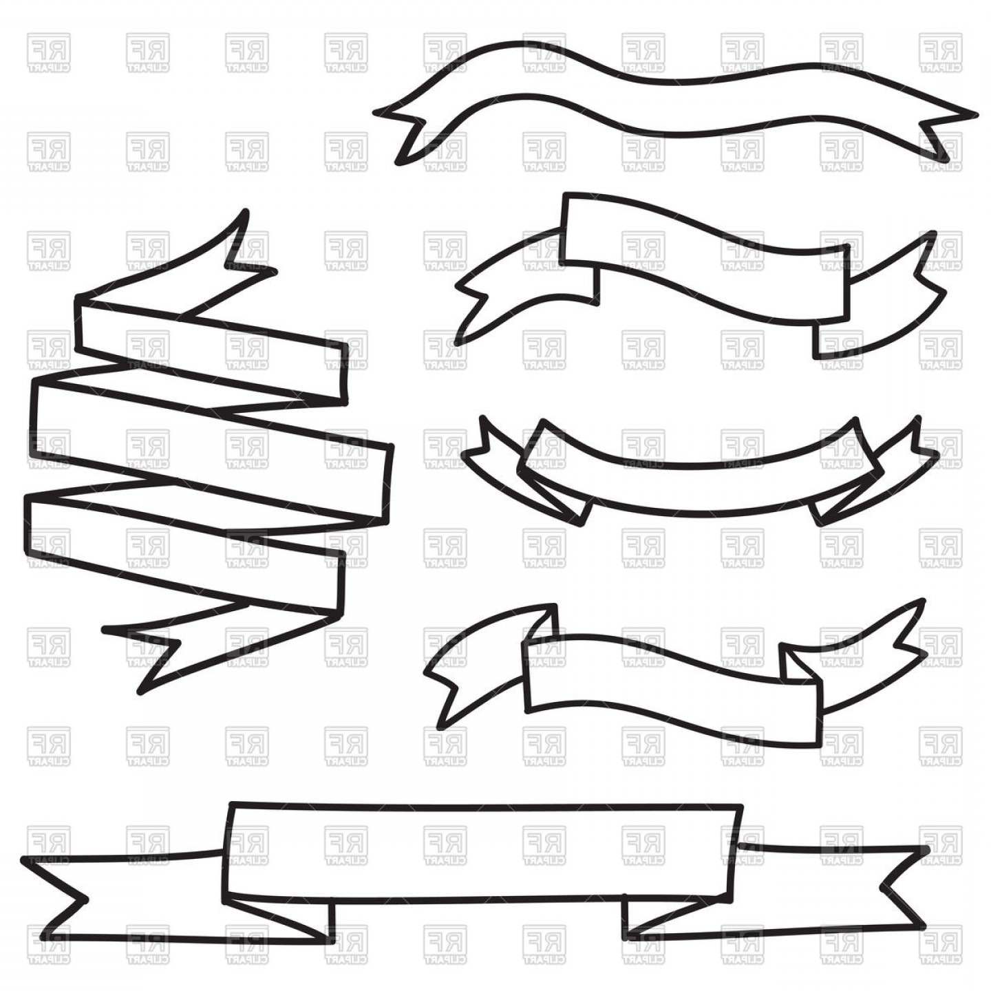 1440x1440 Outline Of Banners And Ribbons Vector Clipart Shopatcloth