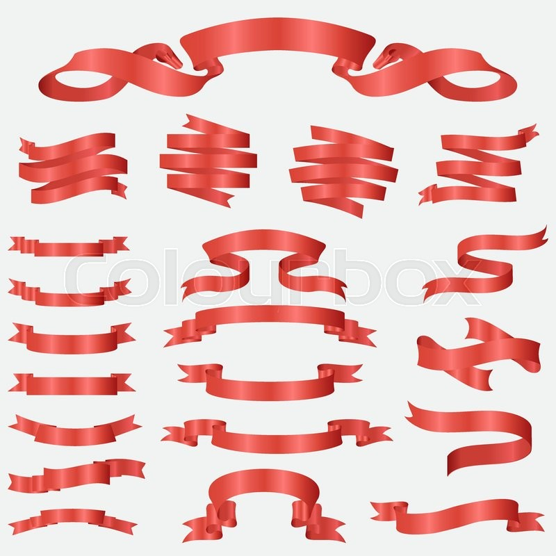 800x800 Red Glossy Ribbon Vector Banners Set. Ribbon Label Red Glossy