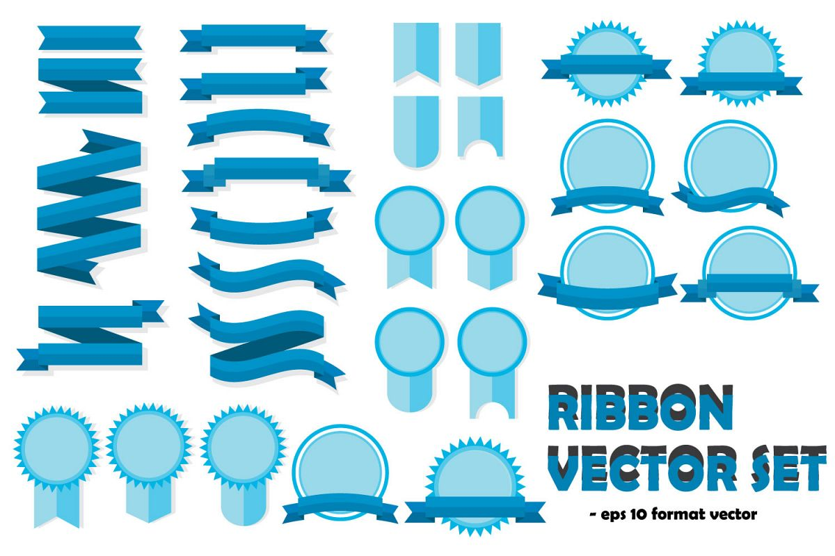1200x800 Ribbon Vector Templates Set