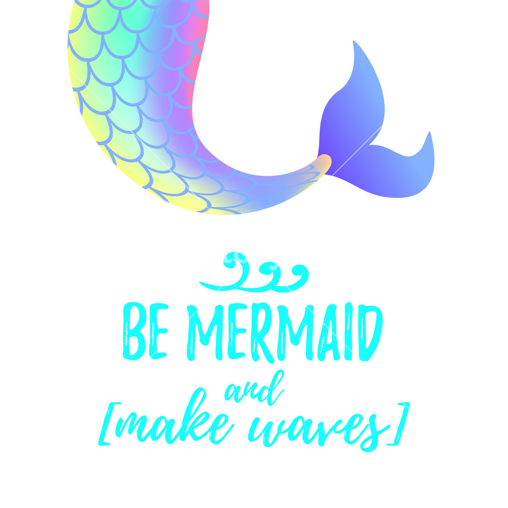 1000x1000 Vector Cartoon Style Illustration Of Cute Mermaid Tail. Mermay
