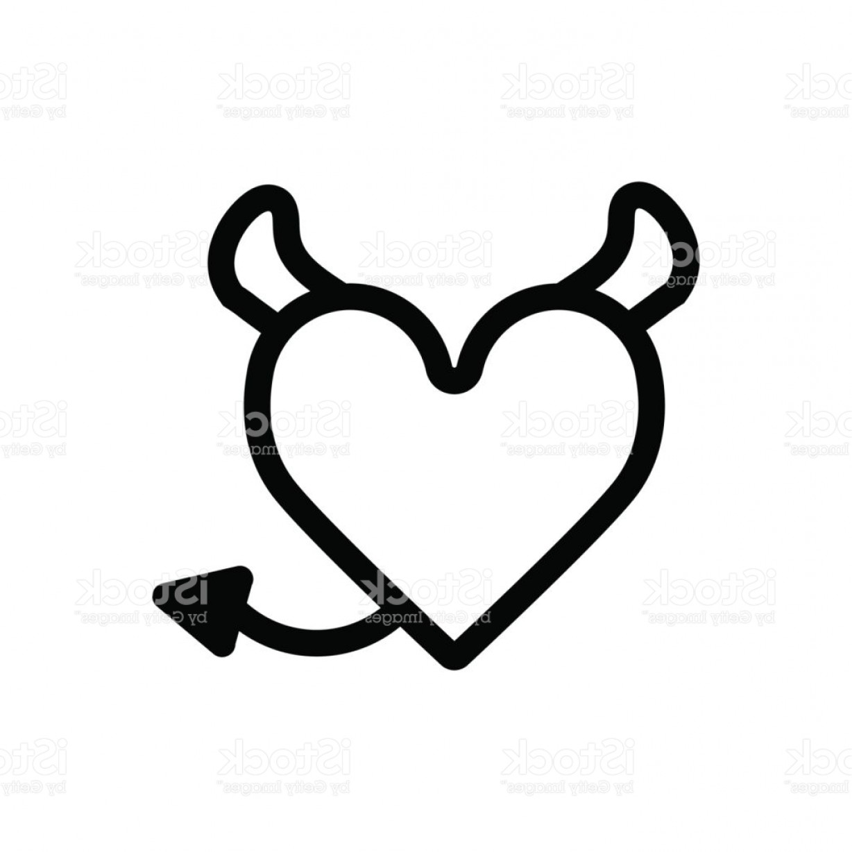 1228x1228 Devil Heart With Horns And Tail Heart Vector Icon Black And White