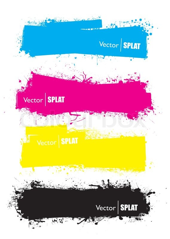 569x800 Splat Banner Cmyk Ink Grunge Effect With Space For Text Stock