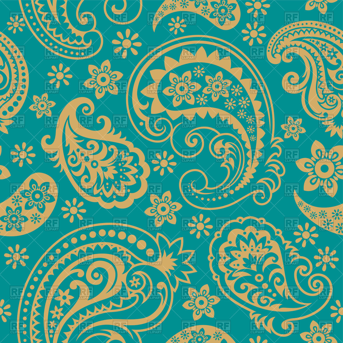 1200x1200 Seamless Paisley Ornament For Wallpaper Or Textile Vector Image