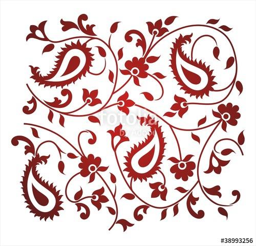 500x479 Paisley Floral Pattern, Textile Design, Royal India Stock Image