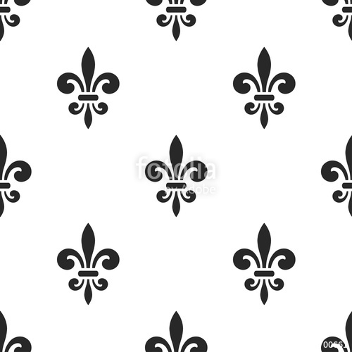 500x500 Golden Fleur De Lis Seamless Pattern. Black White Template. Floral