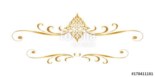 500x250 Line Thai Golden , The Arts Of Thai, Line Pattern Background