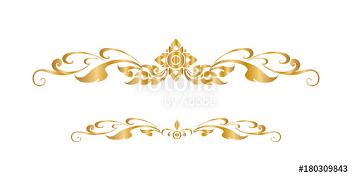 500x250 Line Thai Golden , The Arts Of Thailand, Line Pattern Background