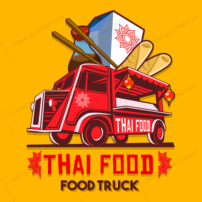690x690 Food Truck Thai Food Fast Delivery Service Vector Logo