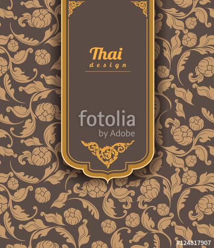432x500 Thai Art Pattern On Brown Background, Flower Style, Thai Pattern