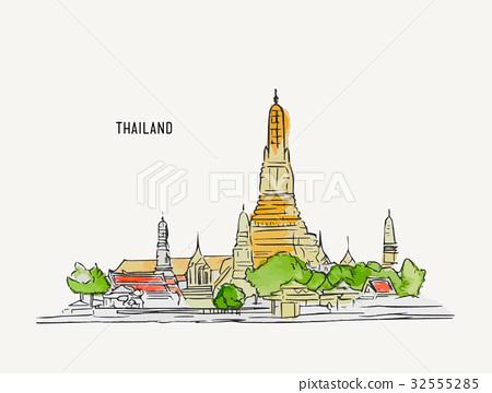 450x360 Thai Culture Concept Sketch Temple Vector.