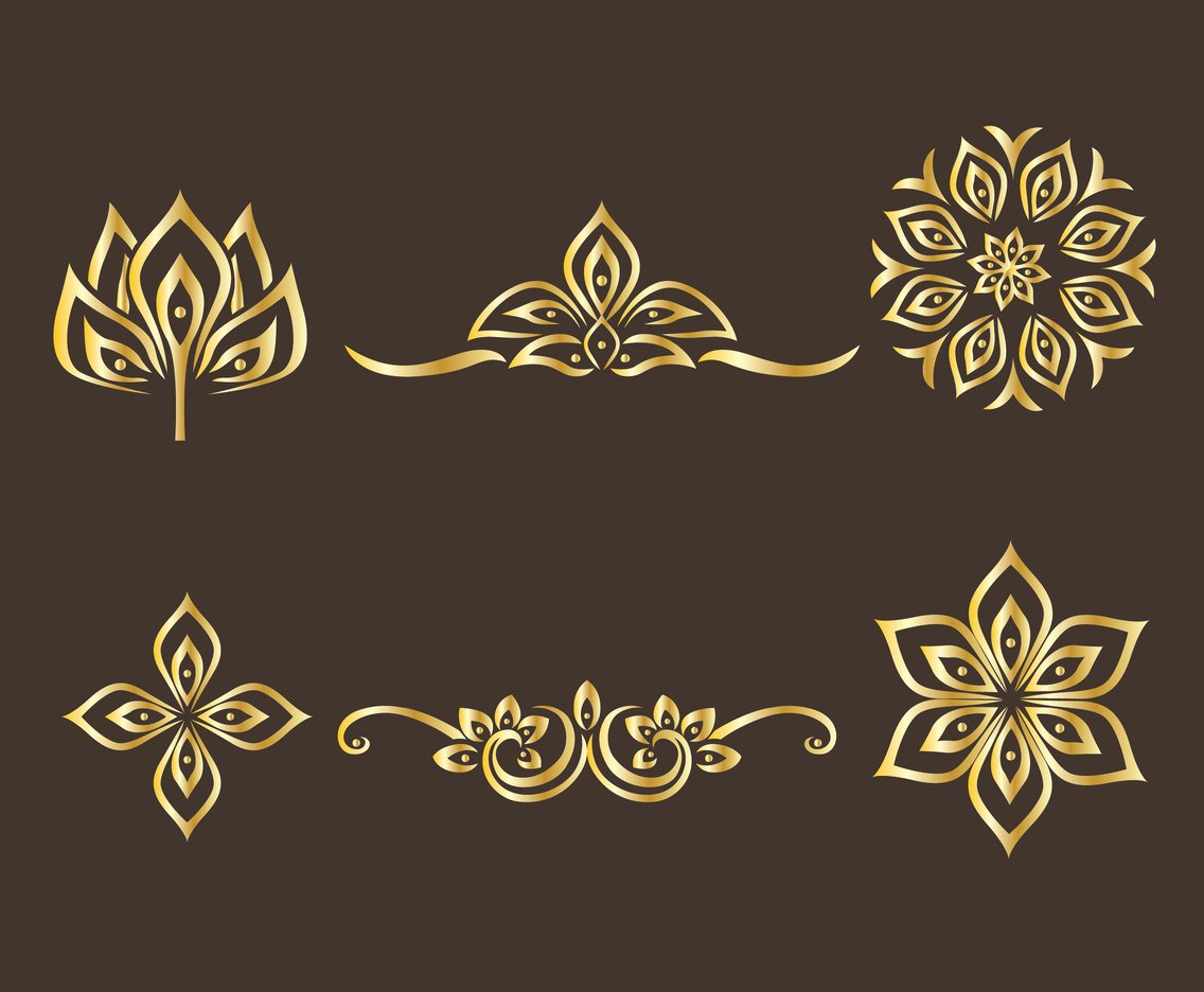 1136x936 Golden Thai Ornament Vector Set Vector Art Amp Graphics