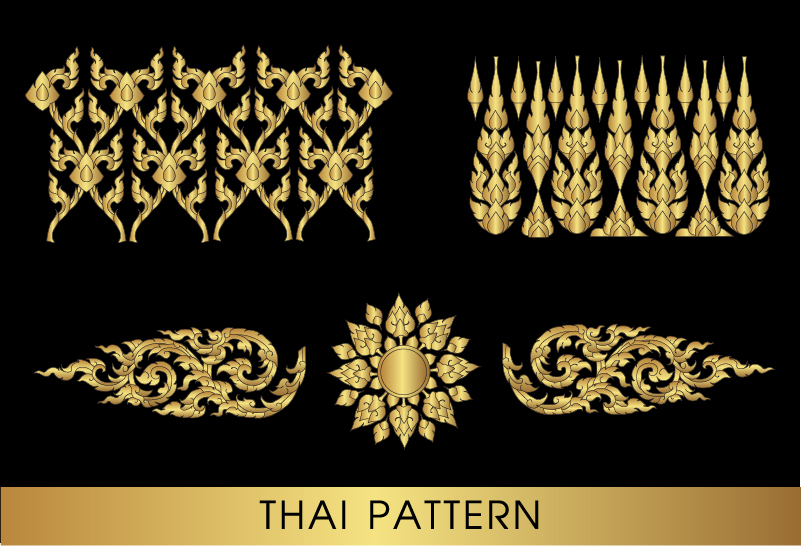 801x546 Golden Thai Ornaments Art Vector Material 08 Free Download