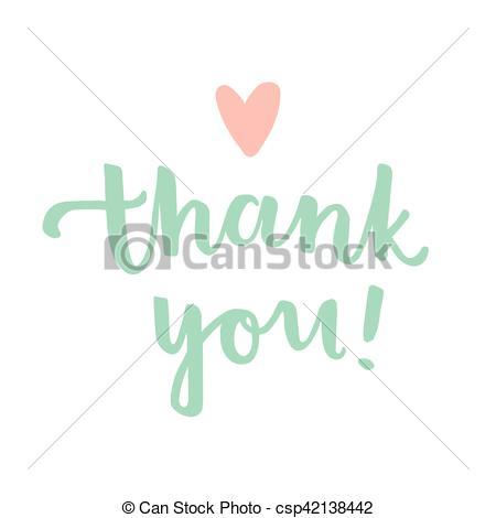 450x470 Thank You Calligraphy Illustration. Vector Hand Drawn Illustration.