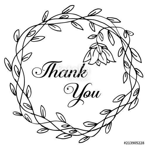 500x500 Thank You Calligraphy Vector Decorated Hand Painted Cute Stock