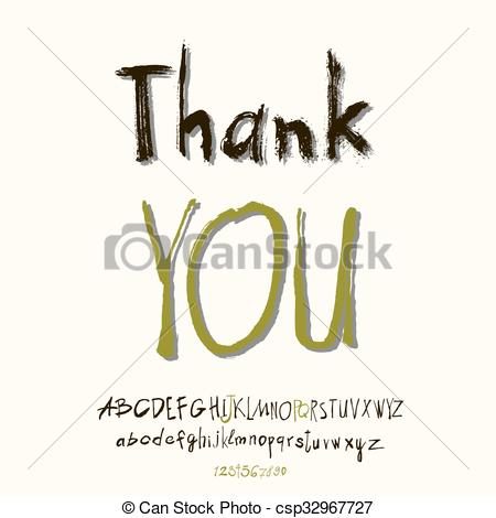 450x470 Thank You Hand Lettering, Handmade Calligraphy, Vector .