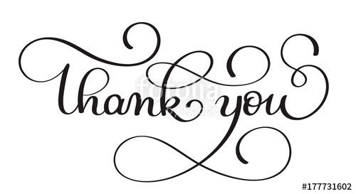 500x273 Thank You Handwritten Calligraphy Vector Text. Dark Brush Pen