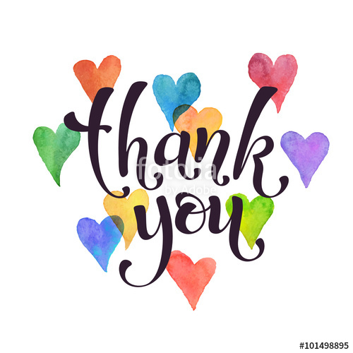 500x500 Thank You Lettering With Watercolor Hearts On Background. Modern