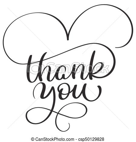 450x470 Thank You Text On White Background. Hand Drawn Calligraphy