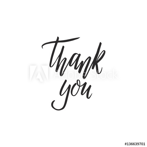 500x500 Thank You Hand Lettering Card. Modern Calligraphy. Vector