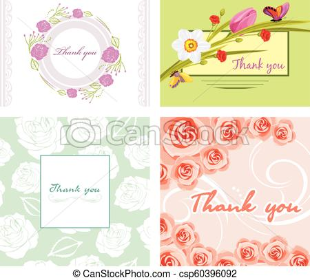 450x407 Four Floral Thank You Cards, Vector Illustration.