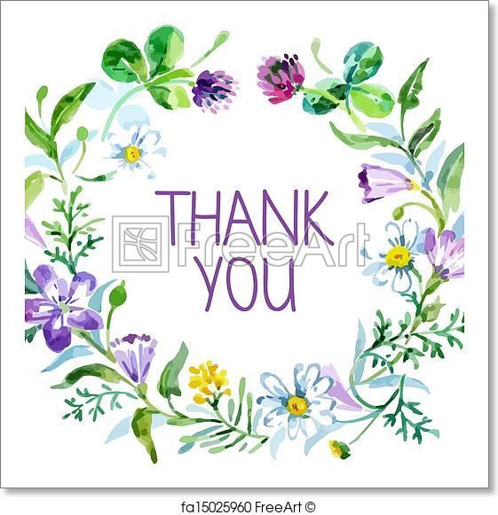 561x581 Free Art Print Of Thank You Card With Watercolor Floral Bouquet