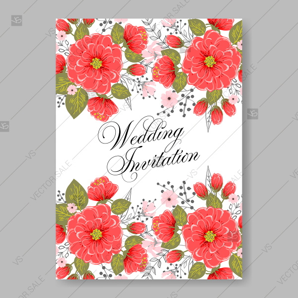 600x600 Garland Floral Frameof Red Peony, Ranunculus Wedding Invitation