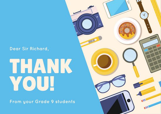 550x389 Blue Vector Teacher Thank You Card