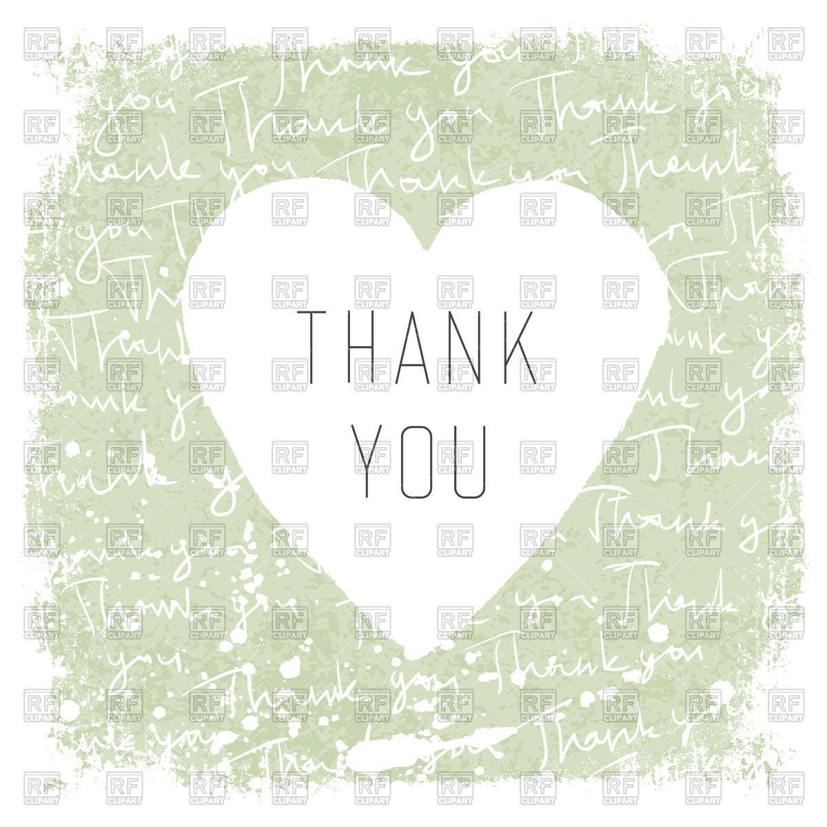 1200x1200 Thank You Card With Heart On Letter Vector Image Vector Artwork