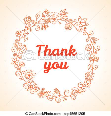 450x470 Vector Thank You Card With Flower Frame. Vector Thank You Card