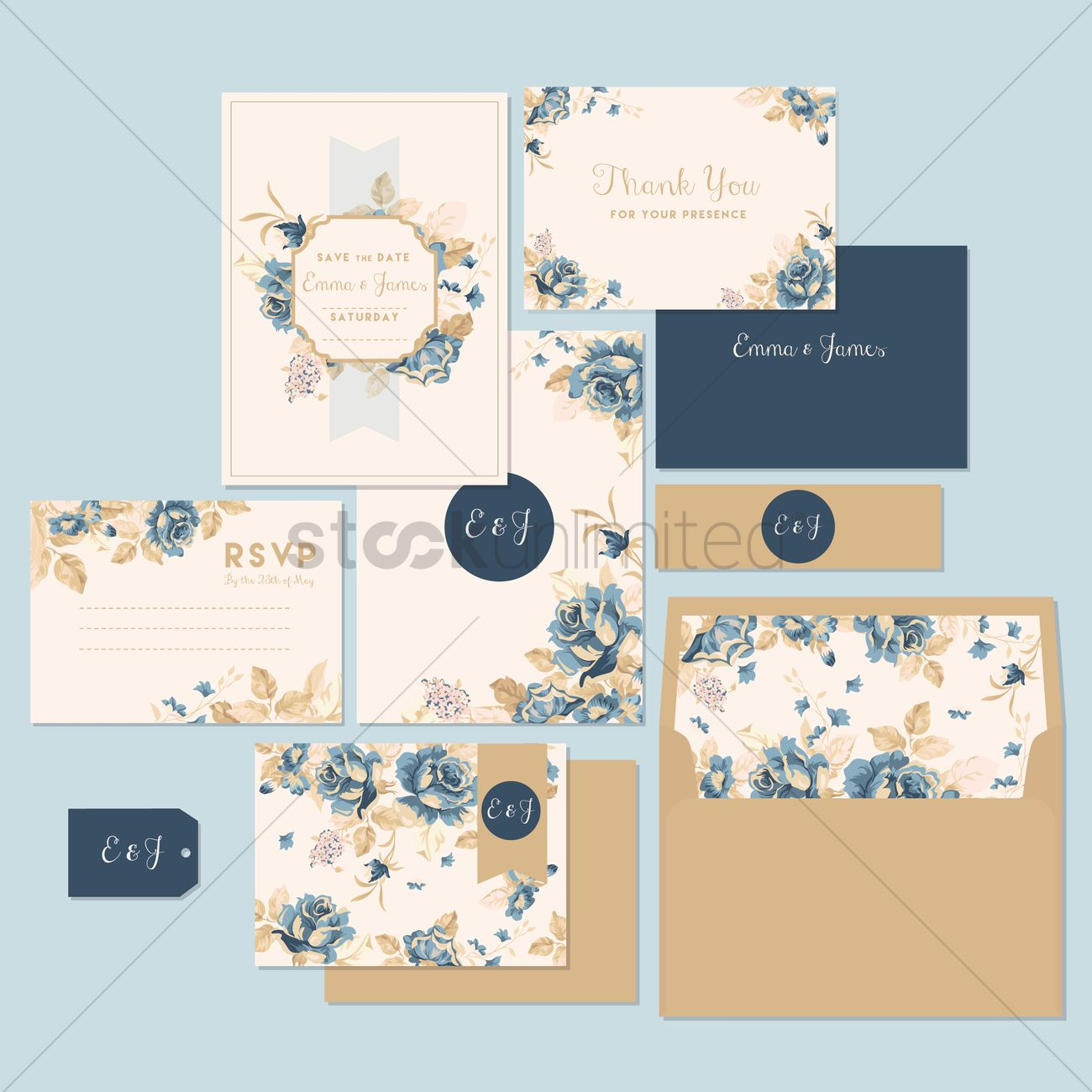 1300x1300 Wedding Invitation And Thank You Card Vector Image