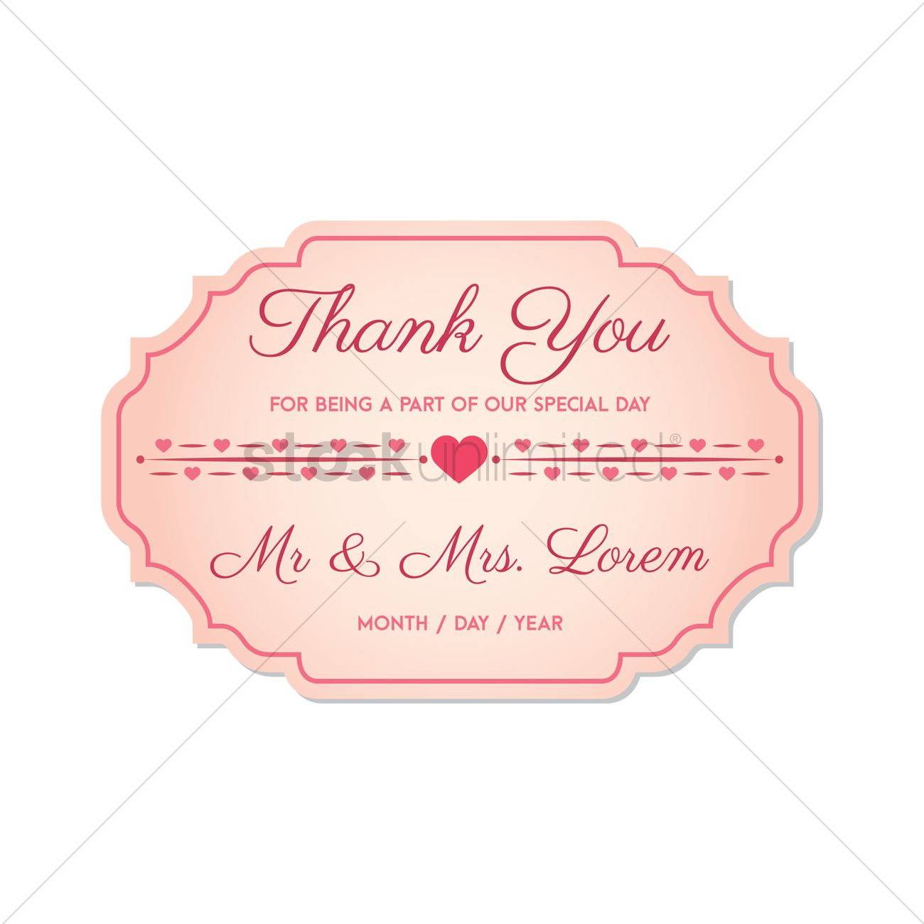1300x1300 Wedding Thank You Card Vector Image
