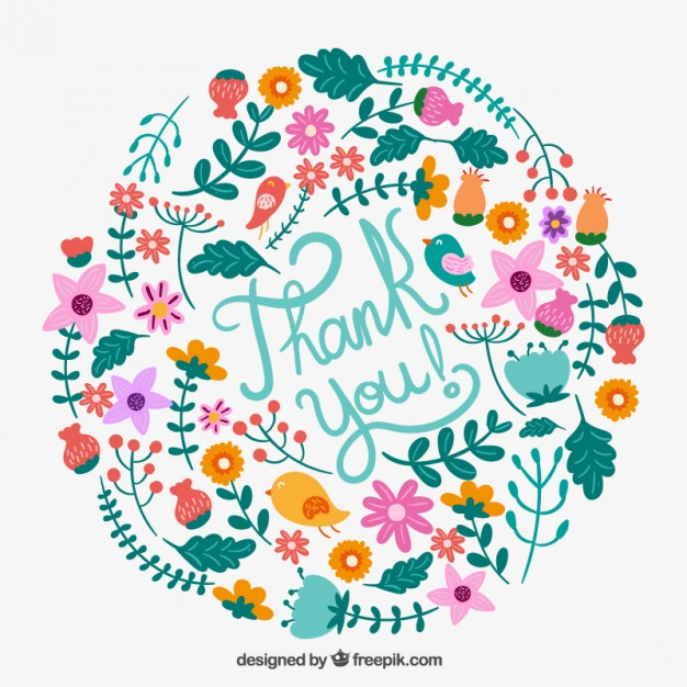 626x626 Floral Thank You Card Vector Free Download