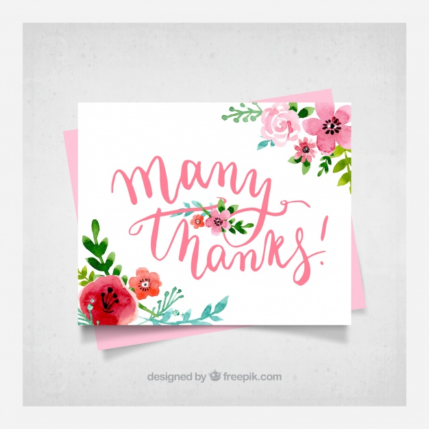 626x626 Floral Thank You Card Background Vector Free Download