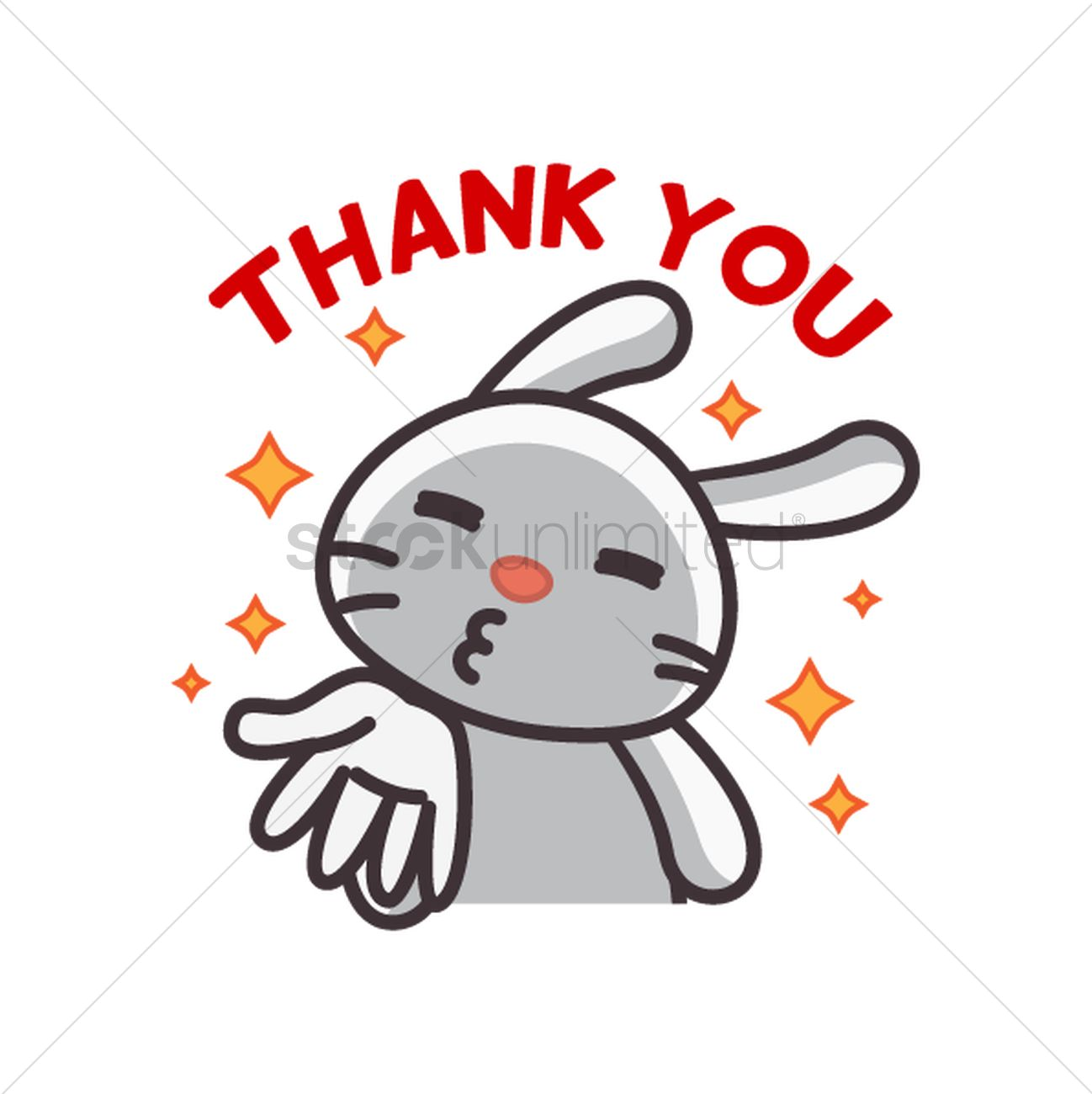 1298x1300 Cute Rabbit Saying Thank You Vector Image