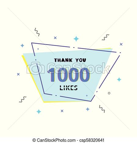 450x470 1k Likes Thank You. Vector Illustration. 1000 Likes Thank You Card