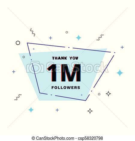 450x470 1m Followers Thank You. Vector Illustration. 1m Followers Thank