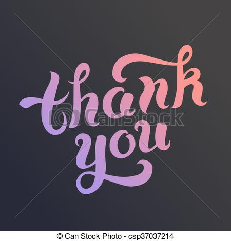 450x470 Thank You Vector Card. Thank You Card. Vector Gradient Text. Hand