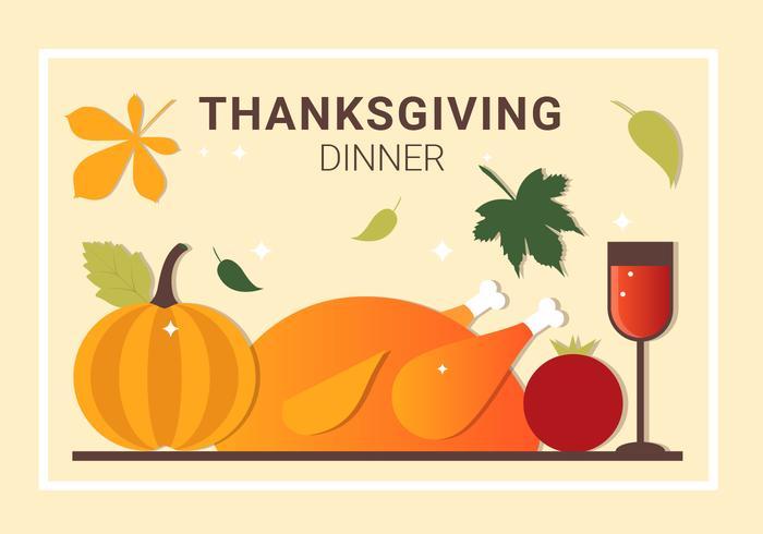 700x490 Free Thanksgiving Dinner Vector Elements