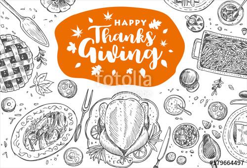 500x340 Hand Drawn Thanksgiving Dinner, Vector Illustration Stock Image