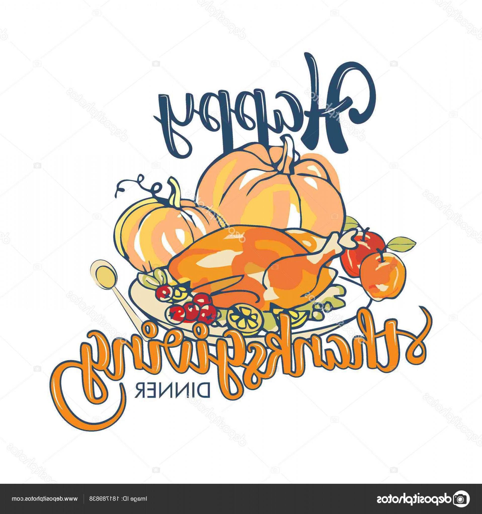 1916x2040 Stock Illustration Lettering Happy Thanksgiving Dinner Vector