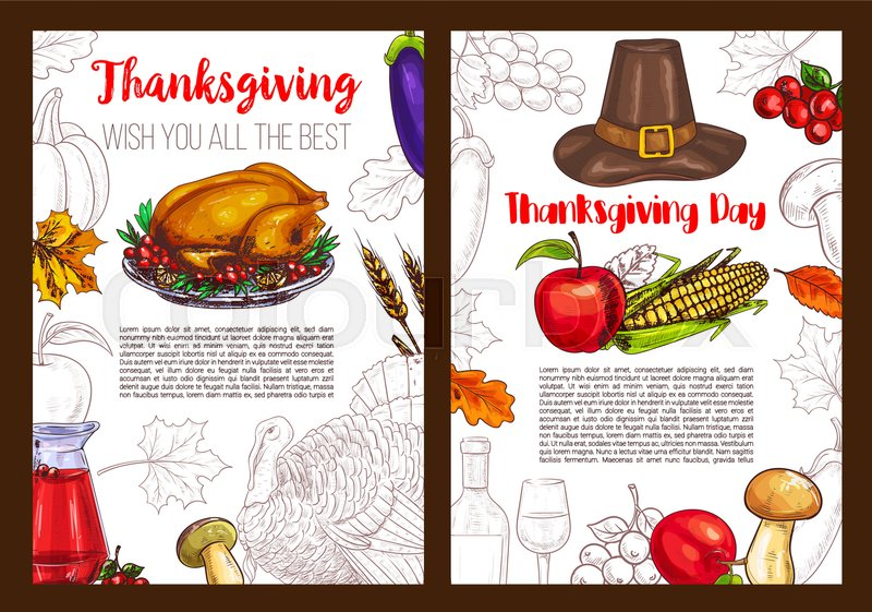 800x561 Thanksgiving Day Sketch Posters Or Greeting Cards For Seasonal